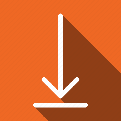 arrow, down, download, long shadow icon