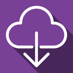 cloud, database, download, guardar, long shadow, save, storage icon
