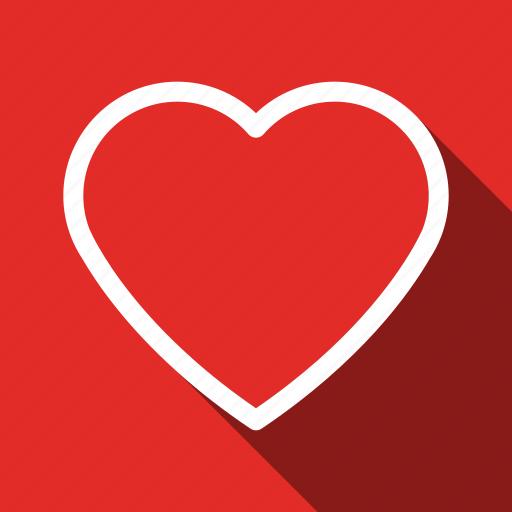 favorite, heart, like, long shadow, love, romantic, sign icon