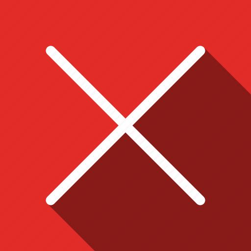 cancel, close, delete, exit, long shadow, remove, trash icon