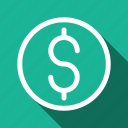cash, coin, currency, dollar, finance, long shadow, money icon
