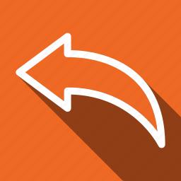 arrow, feedback, long shadow, reply icon