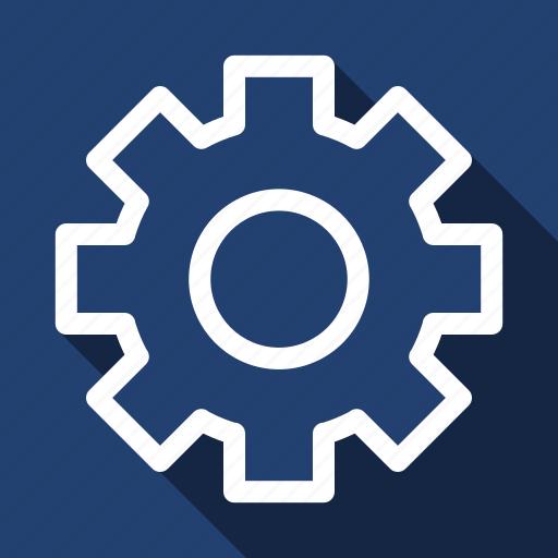 custom, gear, long shadow, settings icon
