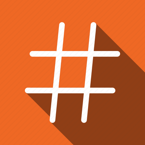 hashtag, hex, long shadow, sign icon