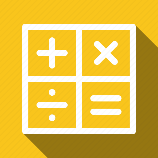 accounting, calculate, long shadow, math icon
