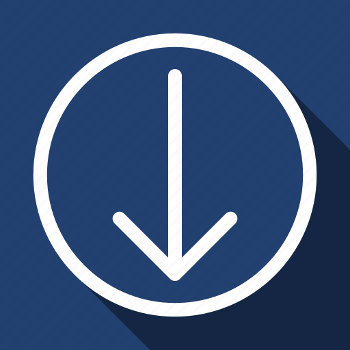 Down, move, long shadow icon - Download on Iconfinder