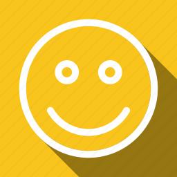 face, happy, long shadow icon