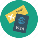 flight, holidays, travel, visa icon