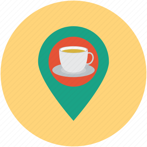 close, coffee, hangout, hungry, maps, nearby, tea icon