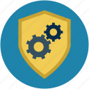 antivirus, defense, gears, malware, password, security, shield icon