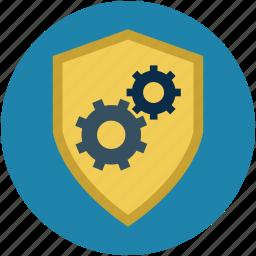 antivirus, defense, gears, malware, password, security, shield icon