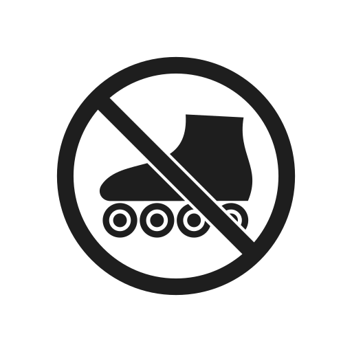 impossible, interdiction, prohibiting sign, prohibition, prohibition sign, roller skates, warning icon