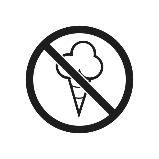 icecream, prevention, prohibiting sign, prohibition, prohibition sign, warning icon