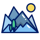 inkcontober, mountain, mountain sunrise, trail icon