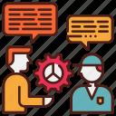 education, informal, junior, mentor, senior, training icon
