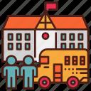 bus, children, education, kindergarten, primary, school