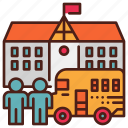 bus, children, education, kindergarten, primary, school icon