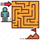 career, maze, obstacle, path, problem, puzzle, solving icon