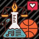 art, law, music, school, science, sport, subject icon