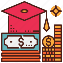 budget, debt, fee, loan, student, study icon
