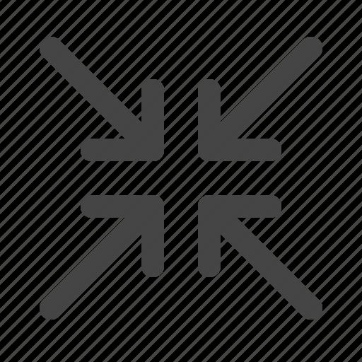 arrows, contract, minimize, smaller icon