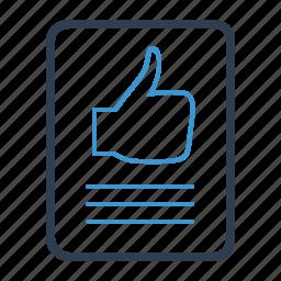 comment, document, feedback, positive, testimonial, testimonials, thumbup icon
