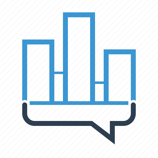 analytics, financial graph, message bubble, sales report icon