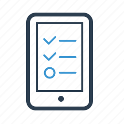 check list, device, mobile testing, phone, smartphone, survey, todo list icon