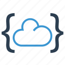 brackets, cloud, code, data storage, programming, share, sharing icon