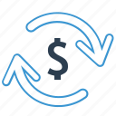 arrows, budget planning, converter, currency exchange, dollar, finance, money conversion icon