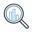 analysis, analytics, diagram, magnifying glass, research, search, statisics report icon