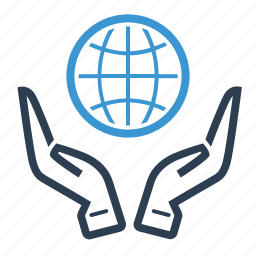 custom care, earth, global solution, hands, planet, service, world icon