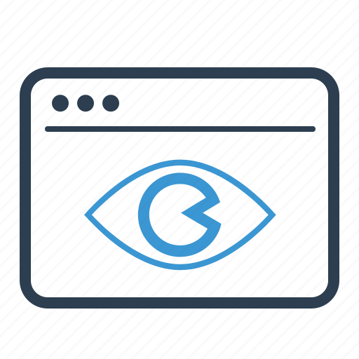 advertising, eye, impressions, optimization, web page, webpage, website icon