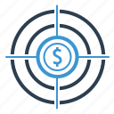 aim, dollar, goal, investment, money, profit, target icon