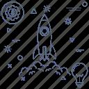 creative, idea, mind, rocket, spaceship, startup icon