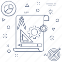 cogs, gear, paper, pie chart, project, target icon