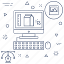 computer, designing tool, picture frame, product design icon