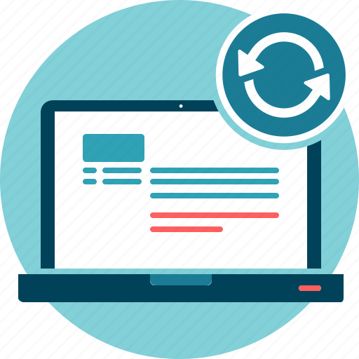 data, laptop, refresh, renew icon