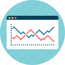 analysis, chart, line, outcome, result, statistics icon