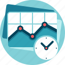 delay, history, linechart, plan, results, statistics, time icon