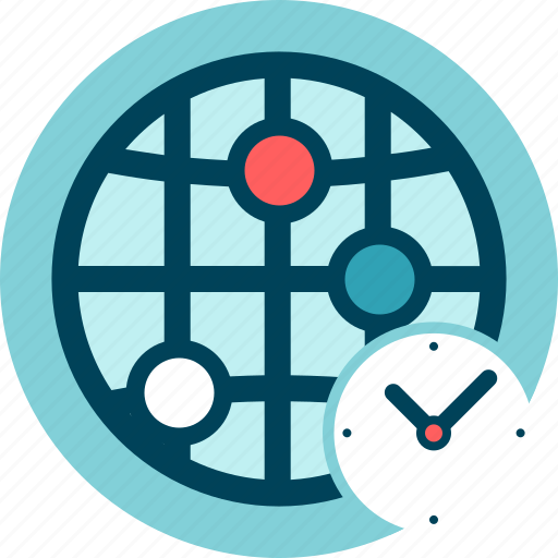 clock, connection, delay, network, speed, time zone icon