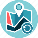 geo data, location, map, refresh, reload, reset icon