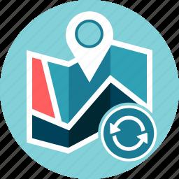 geo data, location, map, refresh, reload, reset icon