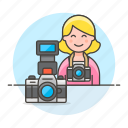 2, camera, dlsr, female, image, photographers, professional, reflex icon