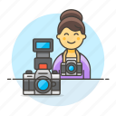 camera, dlsr, female, image, photographers, professional, reflex icon