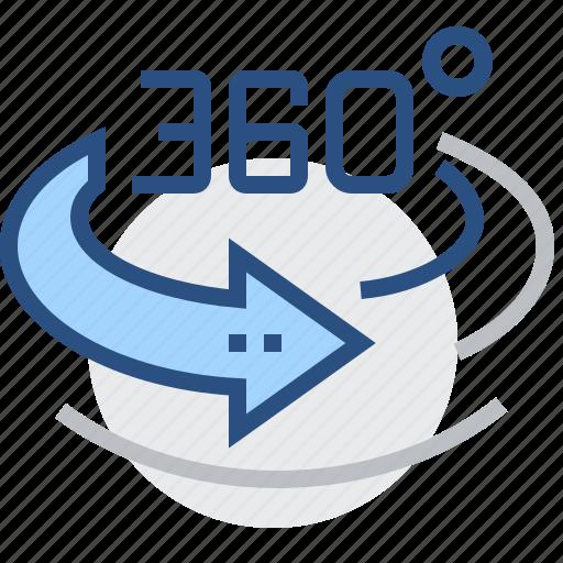 360, around, degrees, image, round, view, vision icon