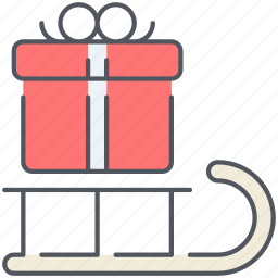christmas, decoration, gift, holiday, new year, sledge, surprise icon