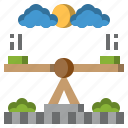 baby, kid, physics, science, seesaw, teeter, totter icon