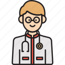 doctor, male, man, physician, stethoscope icon