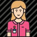 avatar, employee, female, nametag, pink, woman icon
